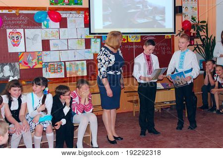 Chernihiv / Ukraine. 27 May 2016: teacher with pupils in the classroom in Ukrainian school. 27 May 2016 in Chernihiv / Ukraine.