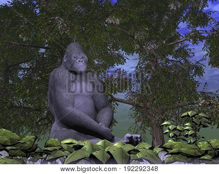 Gorilla monkey thinking sitting in nature - 3D render