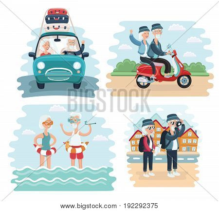 Vector cartoon illustration of Elderly Couple Traveling Together scene. By car, riding on scooter, take photo of sights and splashing in the sea on reasort