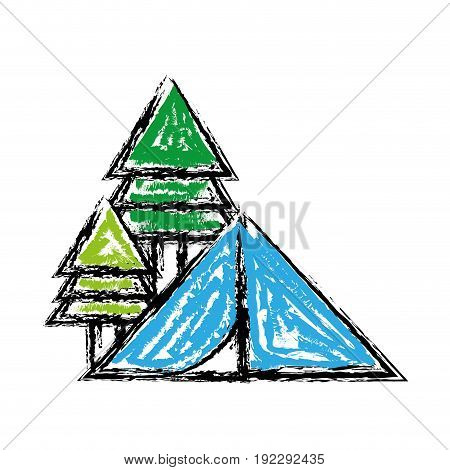 camp with trees and natural adventure vector illustration