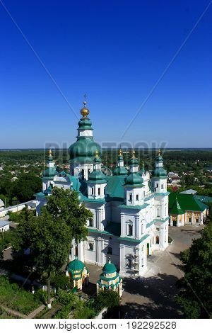 Beautiful Troitskyi monastery from the height of the bird's flight in Chernihiv