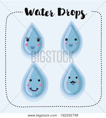 Vector collection of smiling water drops set
