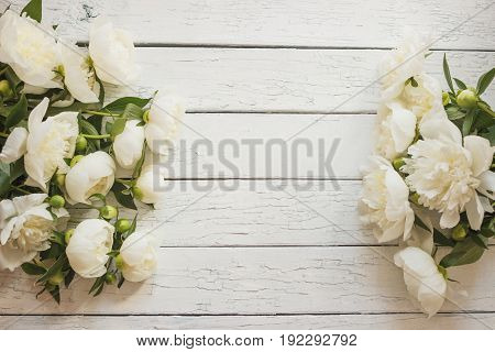 Bouquet Of White Peonies On The Old White Wooden Boards, Soft Focus Background