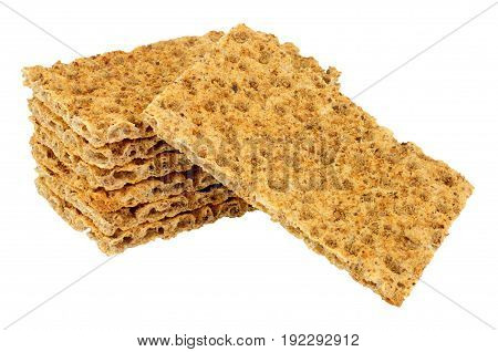Rye crispbread portions isolated on a white background