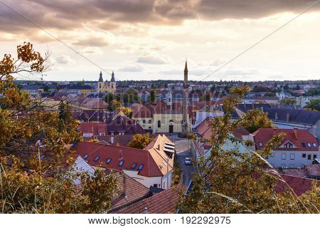 Aerial view of Eger city with the Kethuda minaret, Hungary
