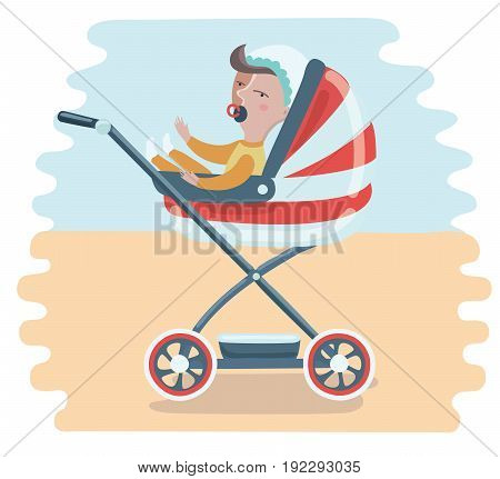 Vector cartoon funny baby in stroller boy with a pacifier.