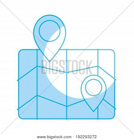 silhouette geography map with points to location vector illustration