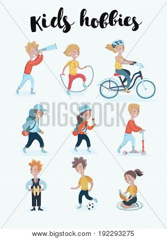 Vector cartoon cute set illustration of different kid's hobbies. Active child Sports, music, tourism, reading, education
