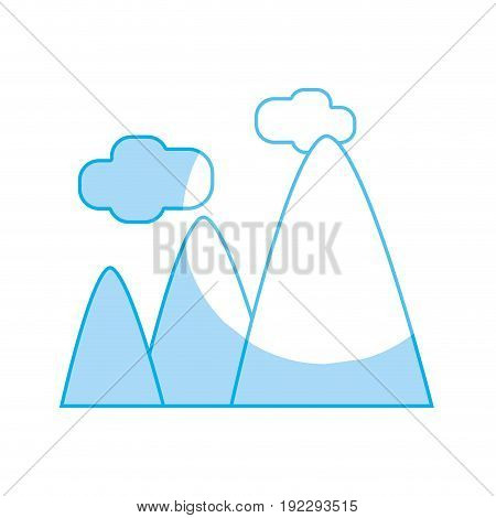 silhouette mountains with clouds and natural landscape vector illustration