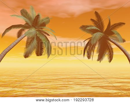 Palm trees in front of the sea by beautiful orange sunset - 3D render