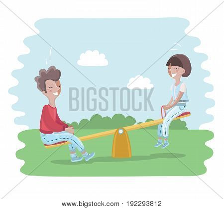 Cartoon illustration of children on Seesaw in the Park. Two kids: boy and girl