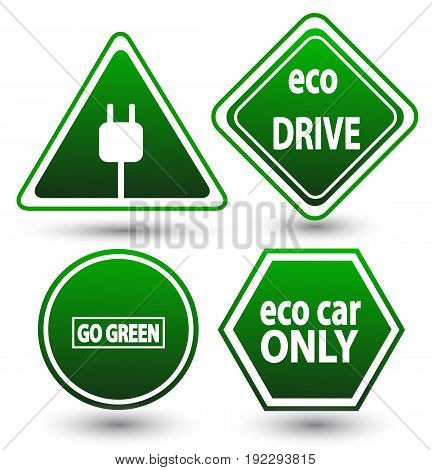 Road signs eco drive. Green eco friendly icon.