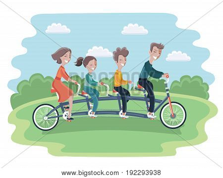 Vector cartoon illustration of Family riding Tandem Bicycle. Mother, Daughter, Son, Father, Sister, Brother. Riding in park outdoor