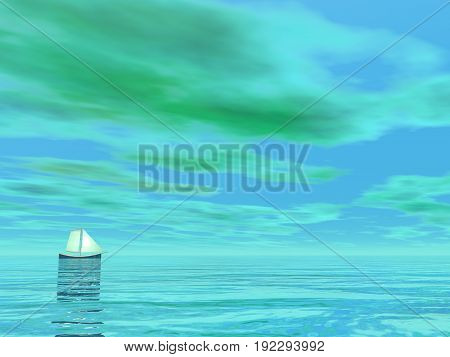 One small sailboat floating on the water by green cloudy day - 3D render