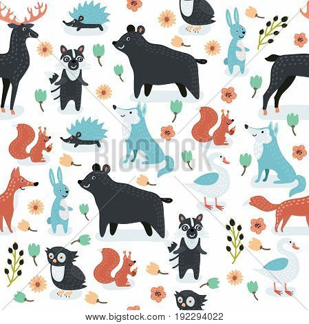 Vector seamless pattern of cute cartoon animals illustrations