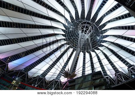 BERLIN, SEP, 20, 2006: View on sail roof structure inside Sony Center at Potsdamer Platz.