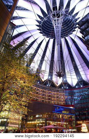 BERLIN, SEP,20, 2006: Underside view on sail roof structure and IMAX cinema inside Sony Center at Potsdamer Platz.