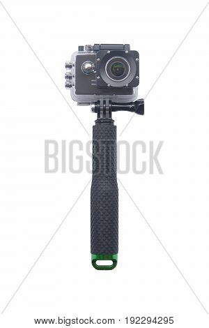 Camera Action Cam isolated on white background.