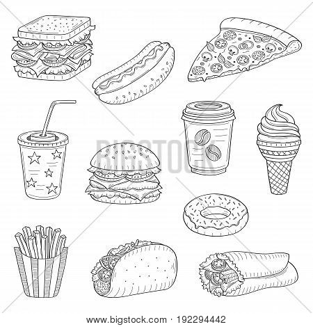 Vector set of fast food hand drawn illustration, with burger, hot dog, sandwich, hamburger, wrap sandwich, soda cup, ice cream, pizza, French fries, donut, coffee cup, taco isolated on white
