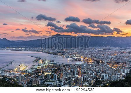 Beautiful evening view of Palermo. Sicily. Italy