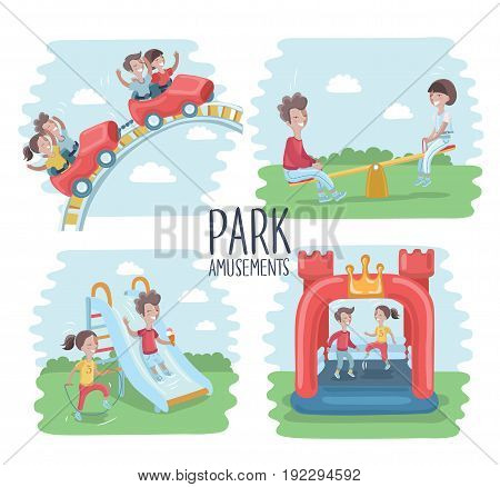 Vector illustration of playground scene, children play on the outdoors, ride on a roller coaster, kids jumping on  inflatable trampoline, on seesawk, sliding slide and happy girl is jumping rope.