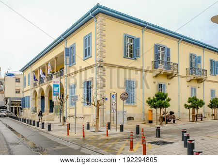 LIMASSOL CYPRUS - MARCH 3 2017: University Building in Old Town Limassol Cyprus ex -Government building in the old town of Limassol.