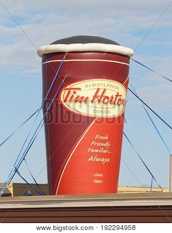 STEWIACKE CANADA - JUNE 22 2017: Tim Hortons display. Tim Hortons is a Canadian restaurant chain known for its coffee and doughnuts. In 2014 Burger King purchased Tim Hortons for 11.4 billion $US.
