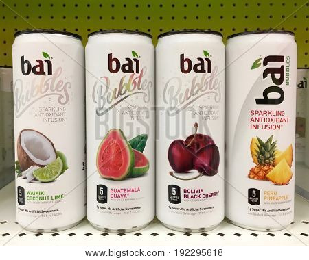 Alameda CA - January 17 2017: Grocery store shelf with cans of bali brand flavored sparkling water. Waikiki Coconut Lime Guatemala Guava Bolivia black cherry and Peru Pineapple flavors