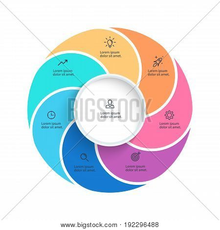 Vector pie chart. Presentation template with 7 steps, options, sections.