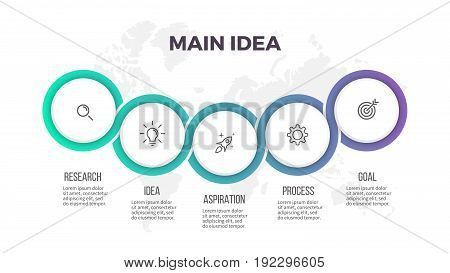 Business infographics. Presentation with 5 circles, options. Vector template.