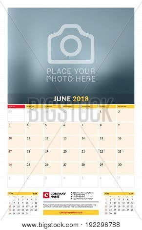 Vector Calendar Planner Template For 2018 Year. June. Vector Design Print Template With Place For Ph