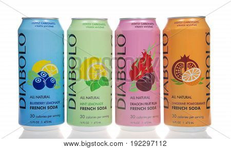 Alameda CA - January 29 2017: 16 ounce cans of Diabolo brand carbonated beverages. French soda with all natural flavors isolated on white. Lightly carbonated vitamin enriched.