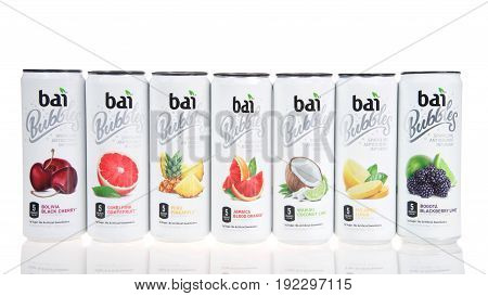Alameda CA - February 05 2017: Cans of Bai brand antioxidant infusion flavored waters isolated on white. Bai Brands is a beverage company founded in 2009 in Princeton New Jersey