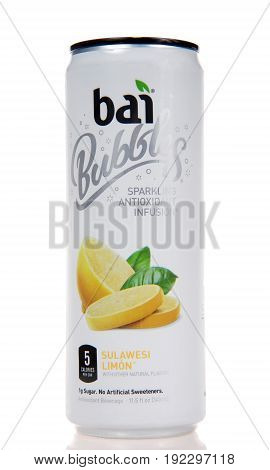 Alameda CA - February 05 2017: One 11.5 ounce can of Bai brand antioxidant infusion Sulawesi Limon flavored water isolated on a white background with reflection.