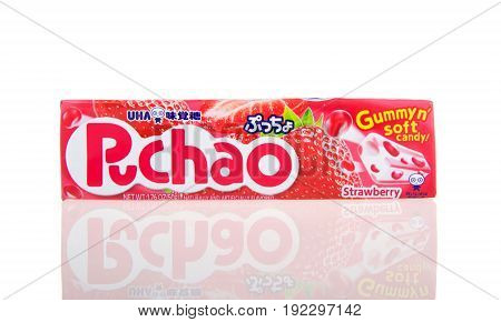Alameda CA - February 05 2017: 1.76 oz pack of Puchao brand Gummy n soft candy. Strawberry flavor. Puccho is a chewy Japanese confectionery made and sold by UHA Mikakuto