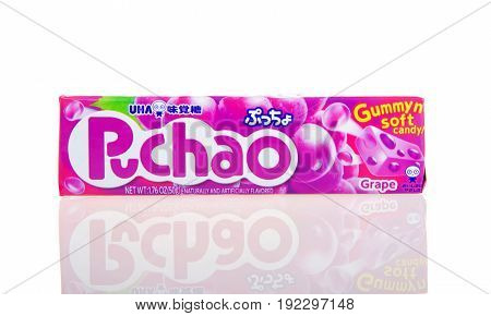 Alameda CA - February 05 2017: 1.76 oz pack of Puchao brand Gummy n soft candy. Grape flavor. Puccho is a chewy Japanese confectionery made and sold by UHA Mikakuto
