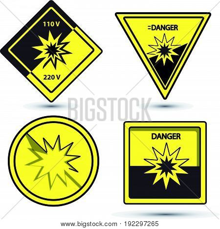 danger vector sign yellow and black collors