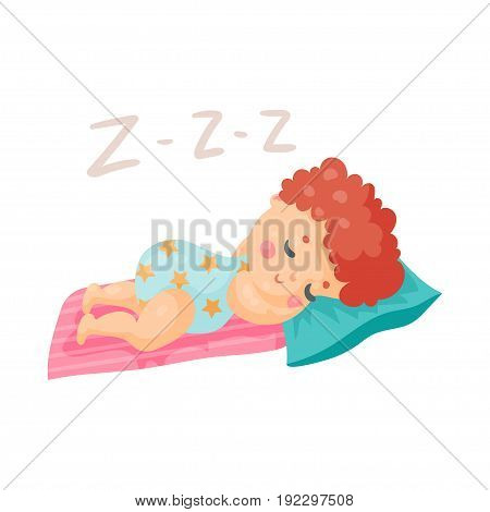 Cute cartoon baby in a blue bodysuit sleeping in his bed colorful character vector Illustration isolated on a white background