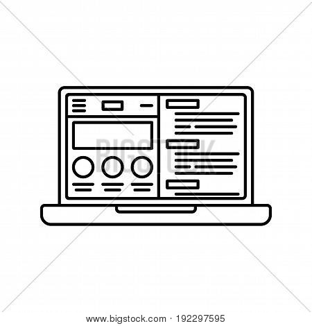 Notebook computer website flat icon for apps and websites