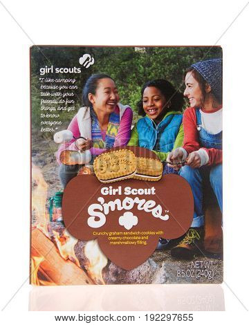 Alameda CA - February 11 2017: One 8.5 ounce box of Little Brownie Baker brand Girl Scout cookies S'mores. Crunchy graham sandwich cookie with creamy chocolate and marshmallow filling. New flavor.