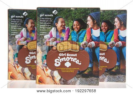 Alameda CA - February 11 2017: Three 8.5 ounce boxes of Little Brownie Baker brand Girl Scout cookies S'mores. Crunchy graham sandwich cookie with creamy chocolate and marshmallow filling. New.