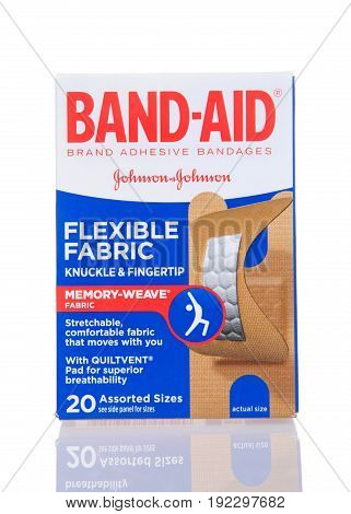Alameda CA - February 17 2017: One box of Johnson and Johnson brand Band-Aid brand adhesive bandages. Flexible fabric with memory weave for Knuckle and fingertip