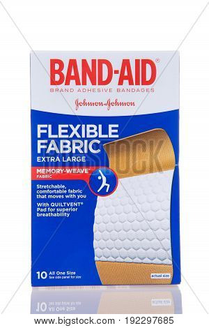 Alameda CA - February 17 2017: One box of Johnson and Johnson brand Band-Aid brand adhesive bandages. Extra large size. Memory weave fabric.