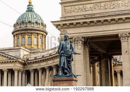 Monument to Field Marshal Barclay De Tolly at background of Kazan Cathedral in Sankt-Petersburg, Amazing architecture