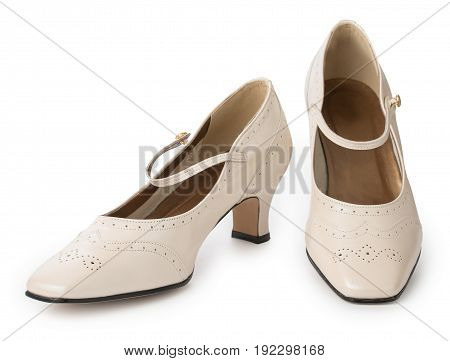 Pair Of Fashion Beige Heeled Women's Shoes Isolated On A White Background. Genuine Leather, Vintage