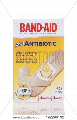 Alameda CA - February 17 2017: One box of Johnson and Johnson brand Band-Aid brand adhesive bandages plus antibiotic. Convenient one-step infection protection.