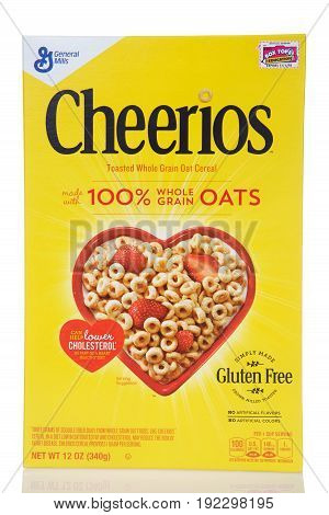Alameda CA - February 17 2017: One 12 ounce box of General Mills brand Cheerios. 100 percent whole grain toasted oat cereal.