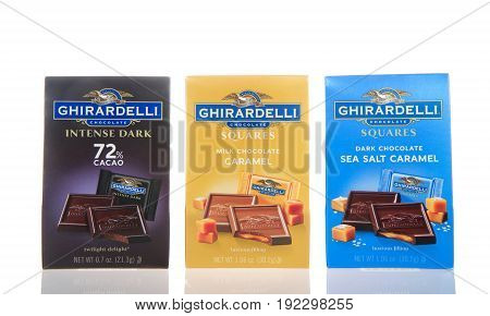Alameda CA - February 22 2017: 0.7 oz packages of Ghiradelli brand chocolates. The Ghirardelli Chocolate Company was incorporated in 1852 and is the third oldest chocolate company in the U.S.