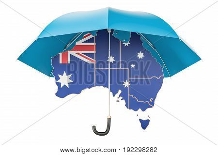 Australian map under umbrella. Security and protect or insurance concept 3D rendering
