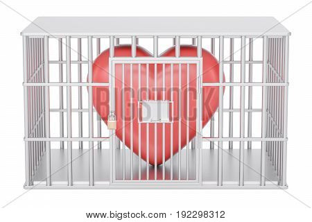 cage prison cell with red heart 3D rendering